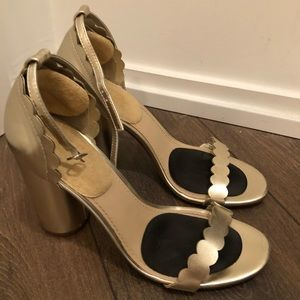 Justfab gold sandals scalloped detail